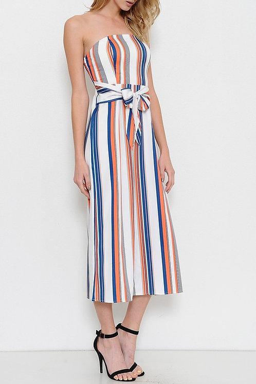 Midi Multi Striped Culotte Jumpsuit