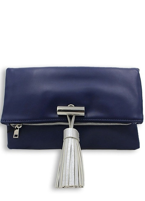 Melanie Handbag Clutch (Navy+Silver)