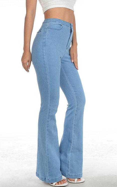Light Blue Denim Flare Leg High Waist Jeans