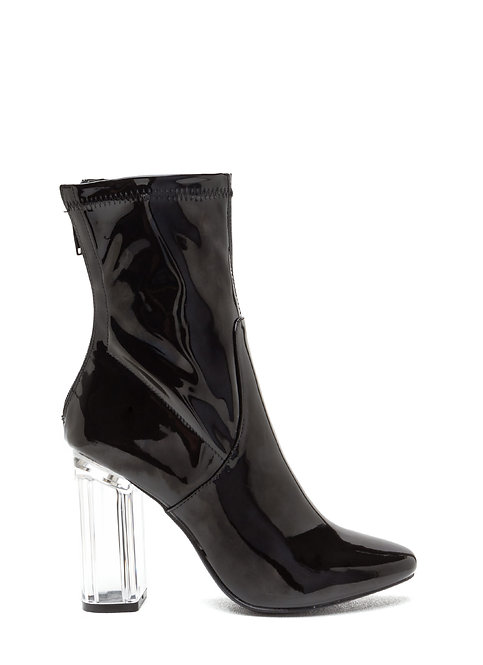 Lucite Heel Patent Leather Booties