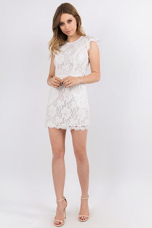 Hailey White Open Back Lace Mini Dress