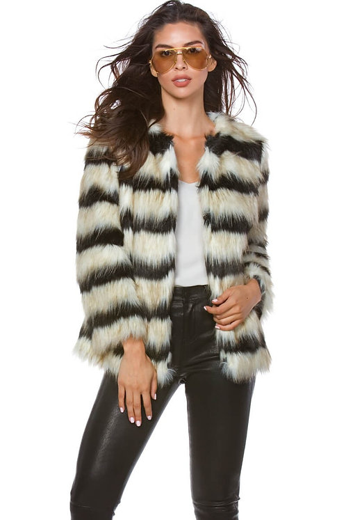 Addison Black And Ivory Vegan Fur Coat