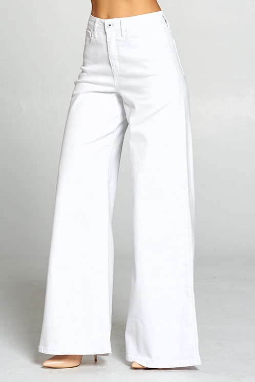 Jane Wide Leg White Denim Jeans