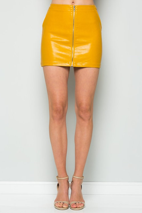 Front Zipper Mustard Vegan Leather Mini Skirt