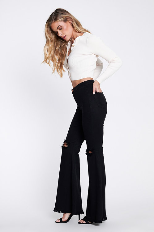 Black high rise ripped knee flare wide leg pants