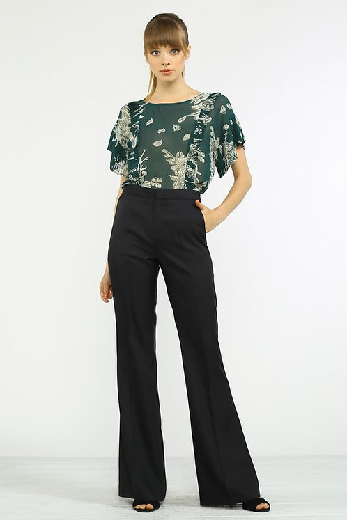 Isabella Black Trouser Flare Pants