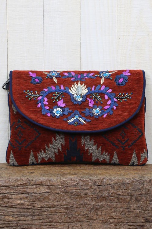 Rust Embroidery Envelope Style Clutch