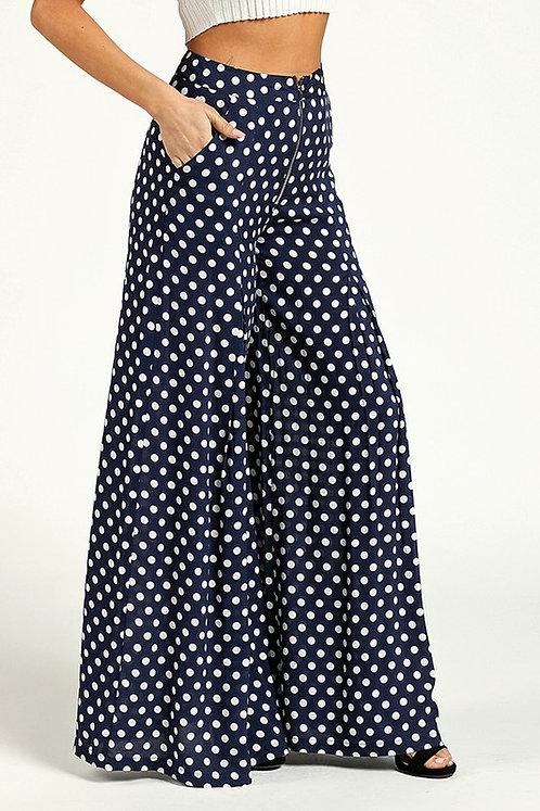Navy Polka Dot Print Wide Leg Pants