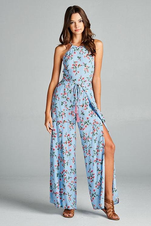 Light Blue Floral Jumpsuit