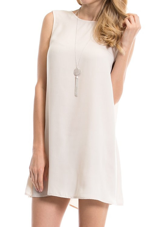 Layering Solid Trapeze Shift Dress