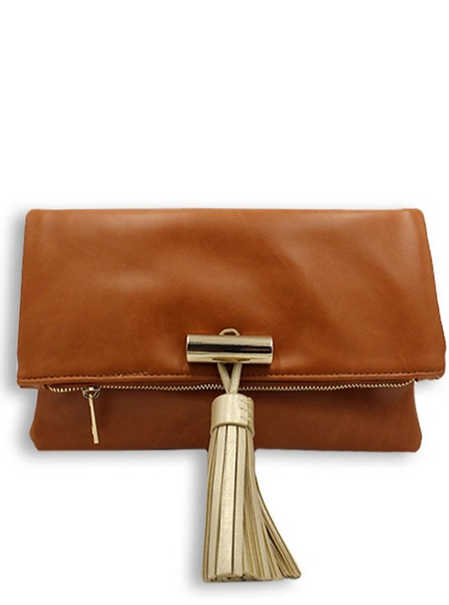 Melanie Handbag Clutch (Cognac+Gold))