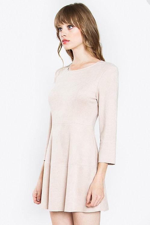 Zooey Blush Pink Vegan Suede Mini Dress