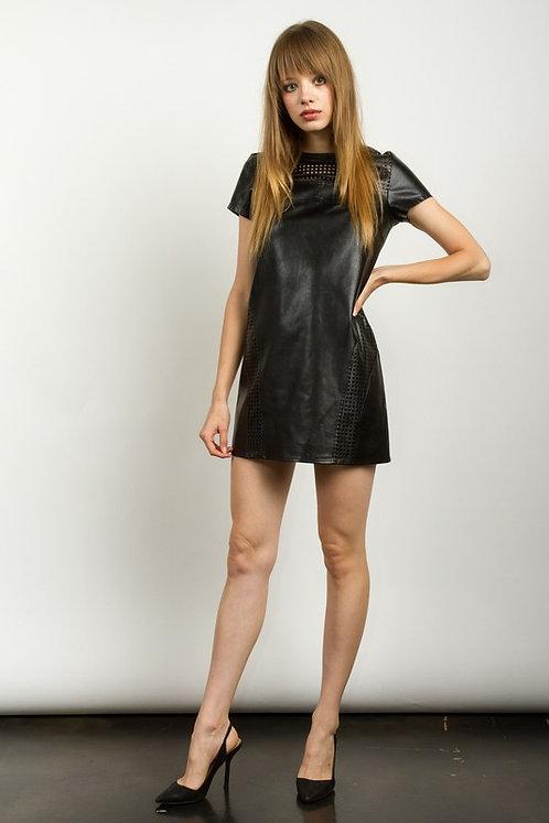 Black Vegan Leather Shift Mini Dress