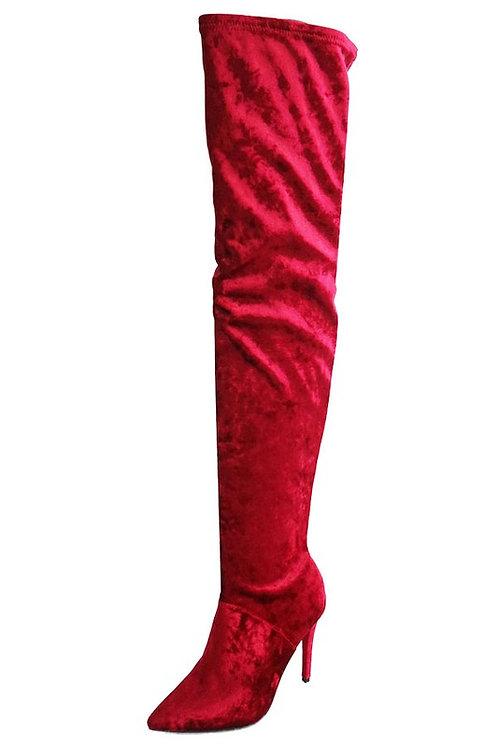 Anne Michelle Dedicate Burgundy Velvet OTK Boots