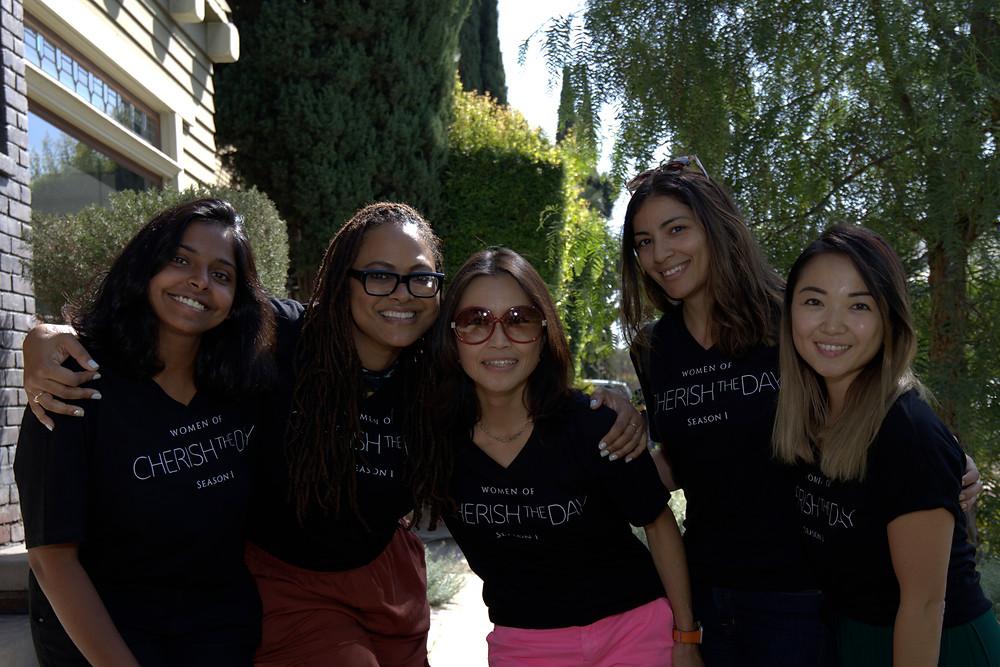 Cherish the Day's All Women Art Department with Ava DuVerney- (left to right) Harshita Reddy, Ava DuVerney, Rika Nakanishi, Danielle Aziz, Emma Koh.