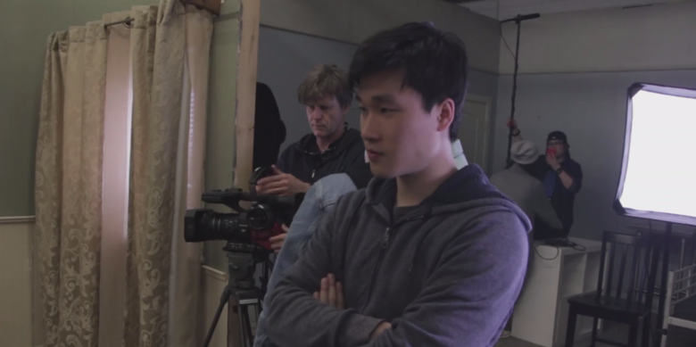 Producer Wendi Sun on set