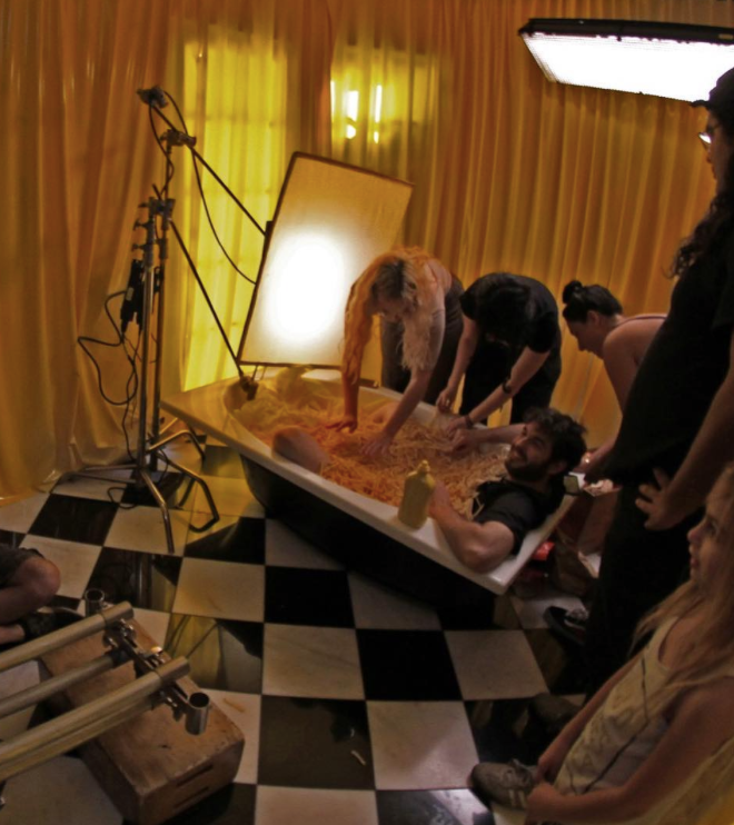 """On the set of Kisspanic's """"I Care for You Too"""" video"""