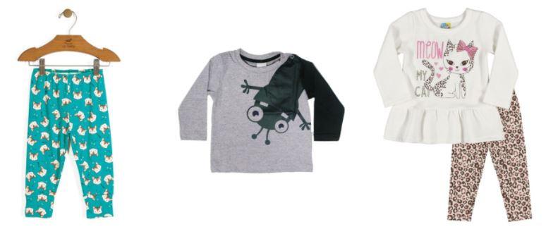 roupa de criança com estampa de animais