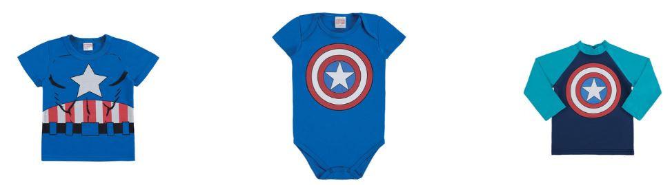 Bodies e Camisetas Capitão América