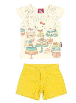 conjunto blusa e shortinho infantil