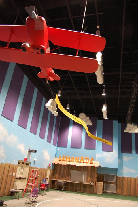 life-sized airplane in youth wing