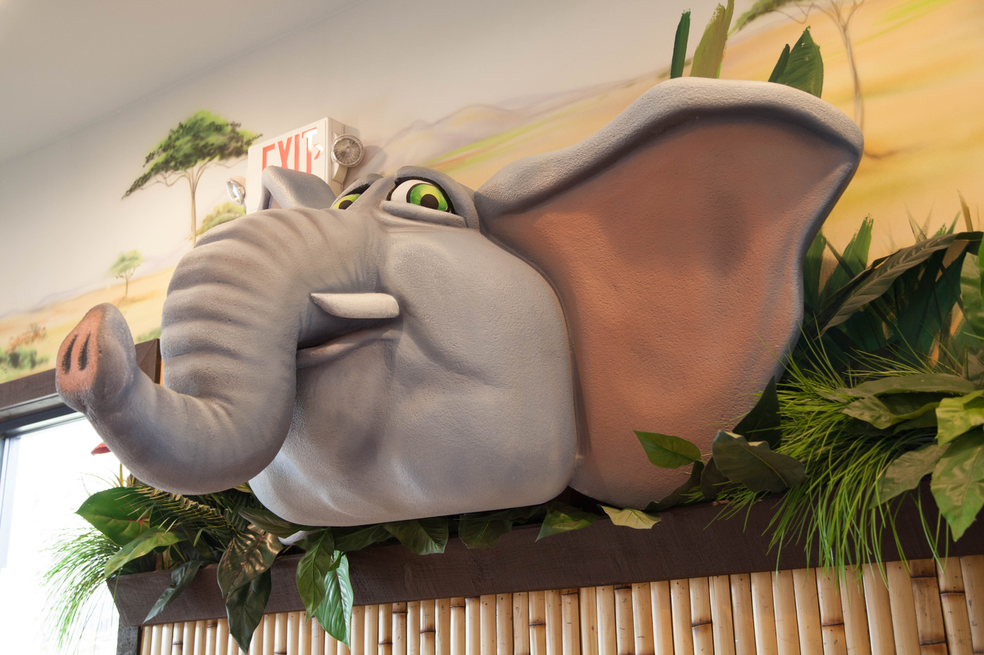 Elephant in safari-themed lobby