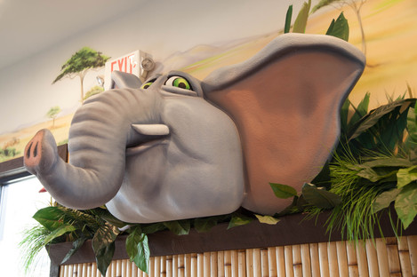 Elephant in safari-themed lobby