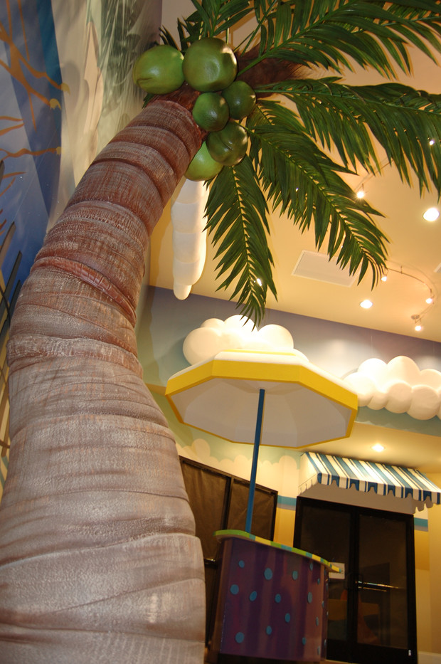 Large coconut palm in lobby