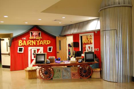 Barnyard Backdrop for youth entrance