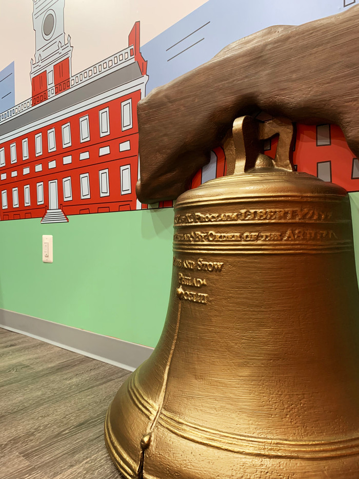 the Liberty Bell with mural