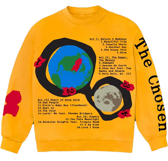 Kid Cudi CPFM for MOTM III Beautiful Trip Crewneck Yellow