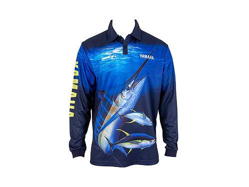 YAMAHA MENS MARLIN FISHING SHIRT - BLUE/YELLOW (SIZE 3XL)