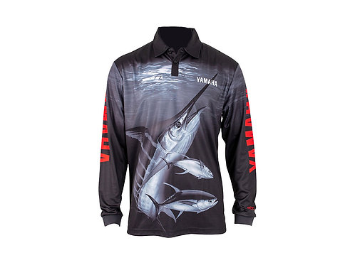 YAMAHA MENS MARLIN FISHING SHIRT - BLACK/RED (SIZE 3XL)