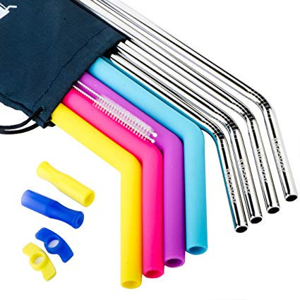 Silicone Straws and Stainless Steel Straws