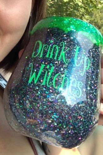 """""""Drink up witches"""" potion cauldron wine tumbler"""