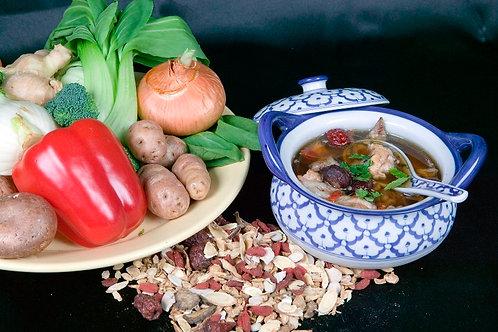Herbs to Strength Chicken Soup (Dun Ji Tang Liao)