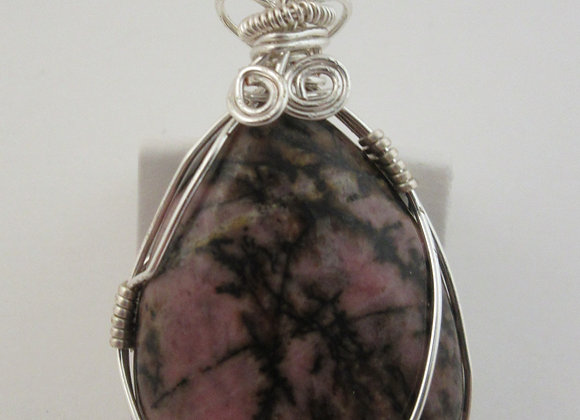 Rhodonite wrapped in Silver - 1