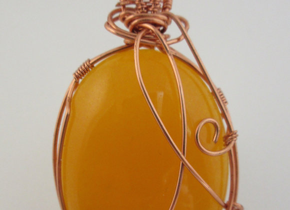Yellow Jade wrapped in Copper - 3