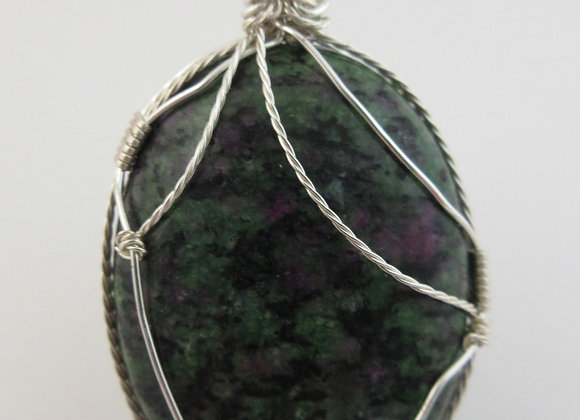 Ruby Zoisite wrapped in Silver - 2