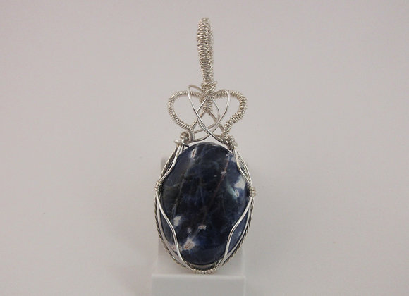 Sodalite wrapped in Silver - 2