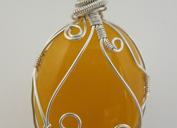 Yellow Jade wrapped in Silver - 2