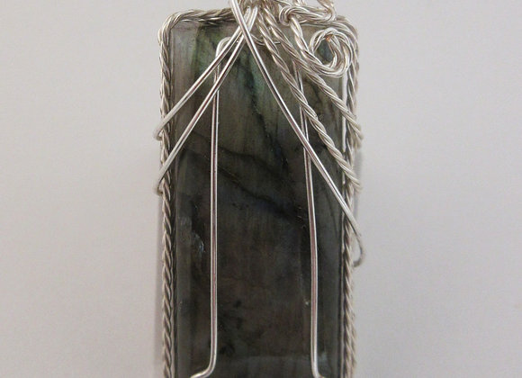 Labradorite wrapped in Silver - 3