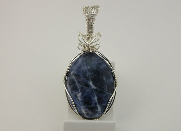 Sodalite wrapped in Silver - 1