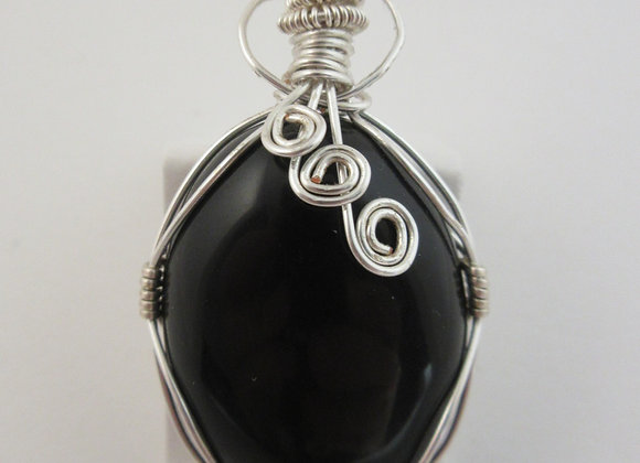 Obsidian wrapped in Silver - 2