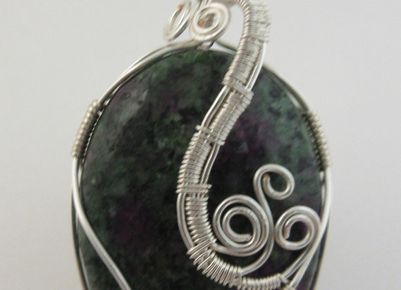 Ruby Zoisite wrapped in Silver - 1