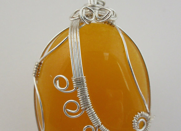 Yellow Jade wrapped in Silver - 1