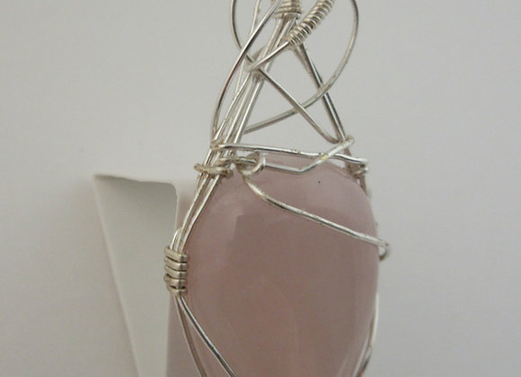 Rose Quartz wrapped in Silver - 2