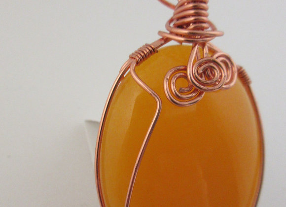 Yellow Jade wrapped in Copper - 4