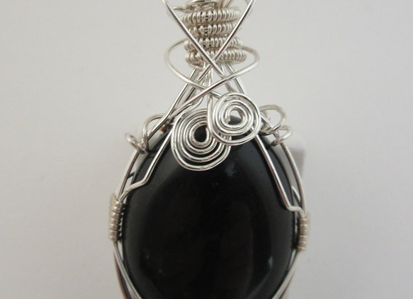 Obsidian wrapped in Silver - 3