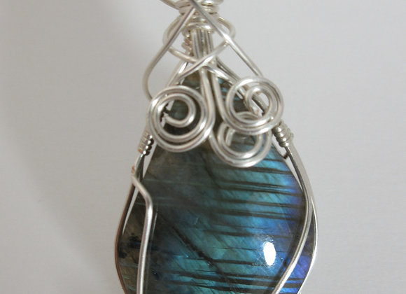 Labradorite wrapped in Silver - 1